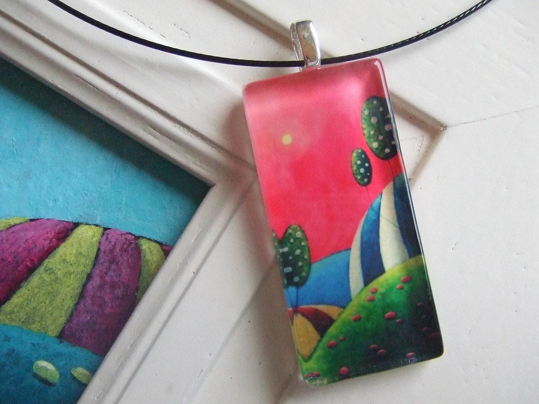 """Art Pendant - """"Songe D'Une Nuit D'ete"""" - Glass Tile Necklace"""