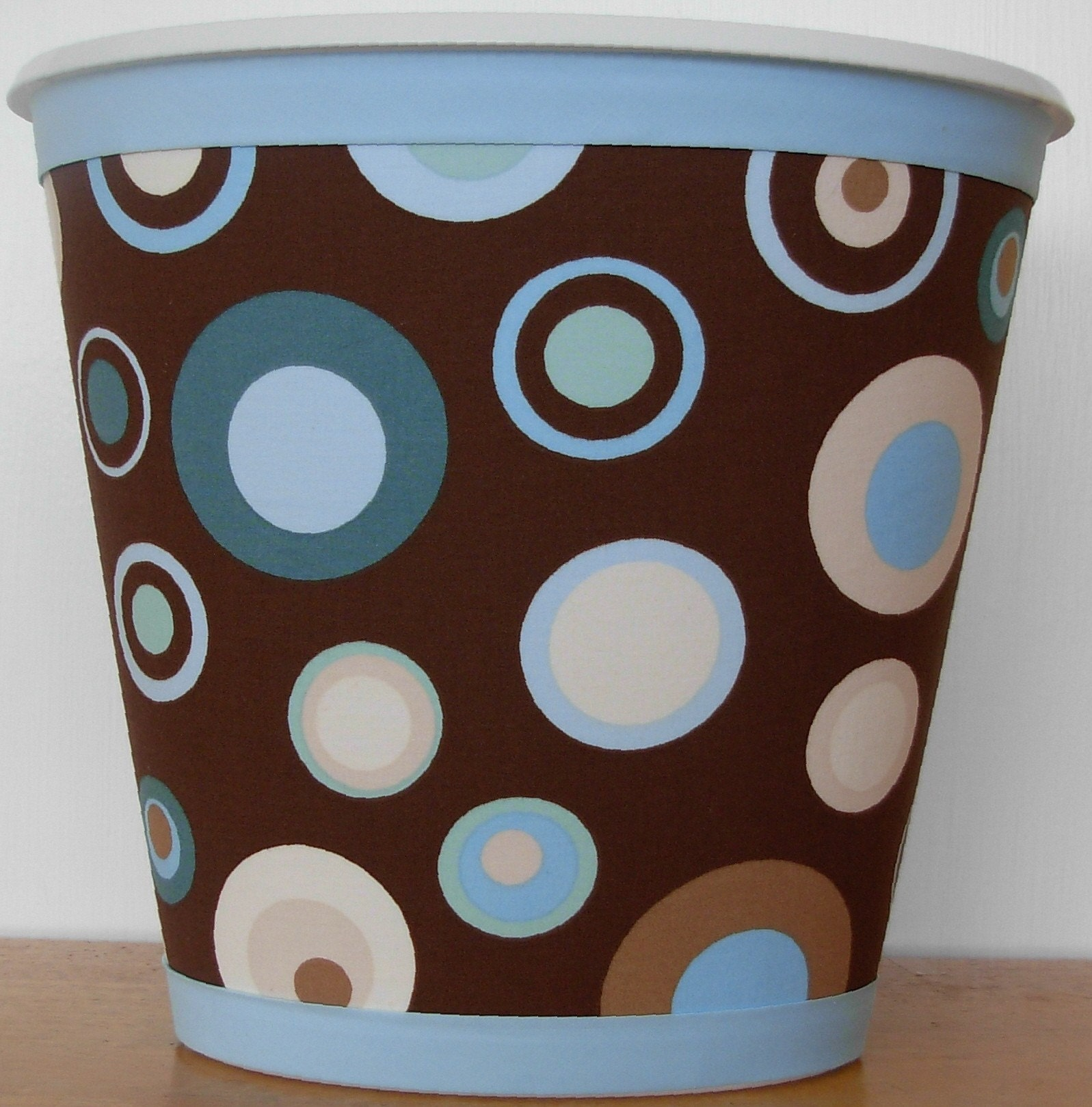 Chocolate Brown Wastebasket with Modern Dots in Light Blue and Aqua