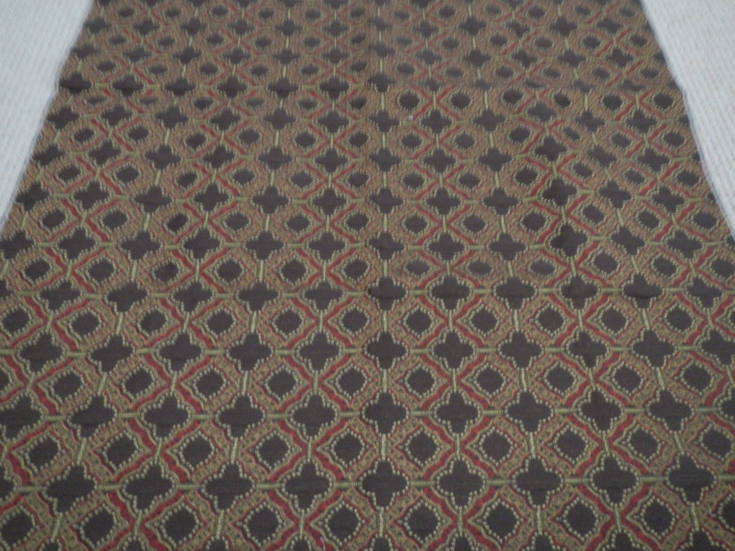 Items similar to Brown Burgundy Gold Home Decor Fabric