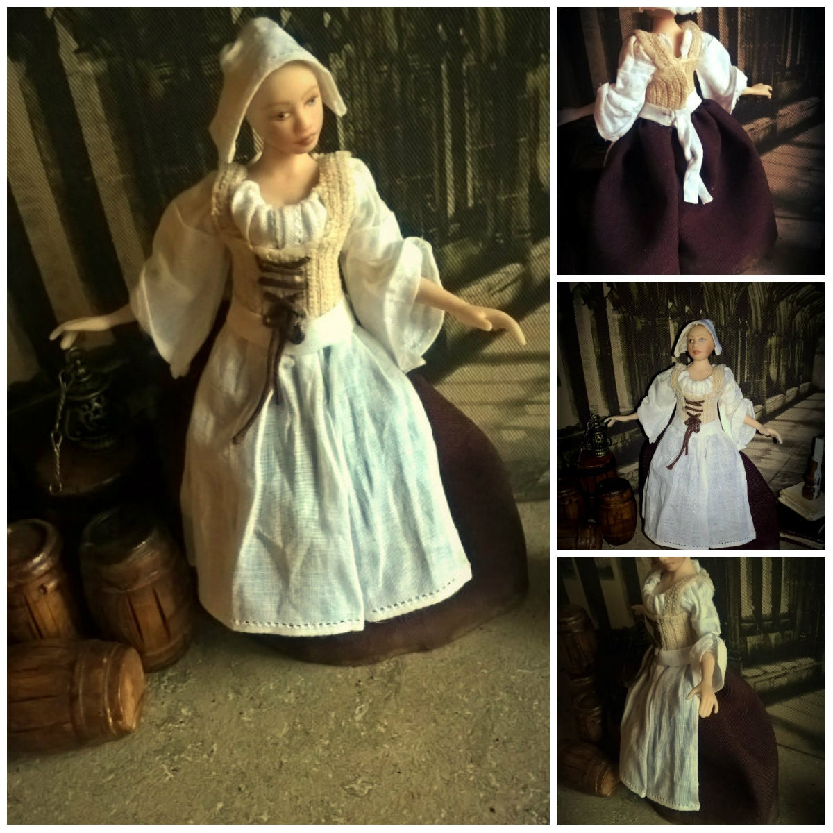 Dollhouse Tudor Wearable gown and head dress cap in 12th scale miniature Made to order