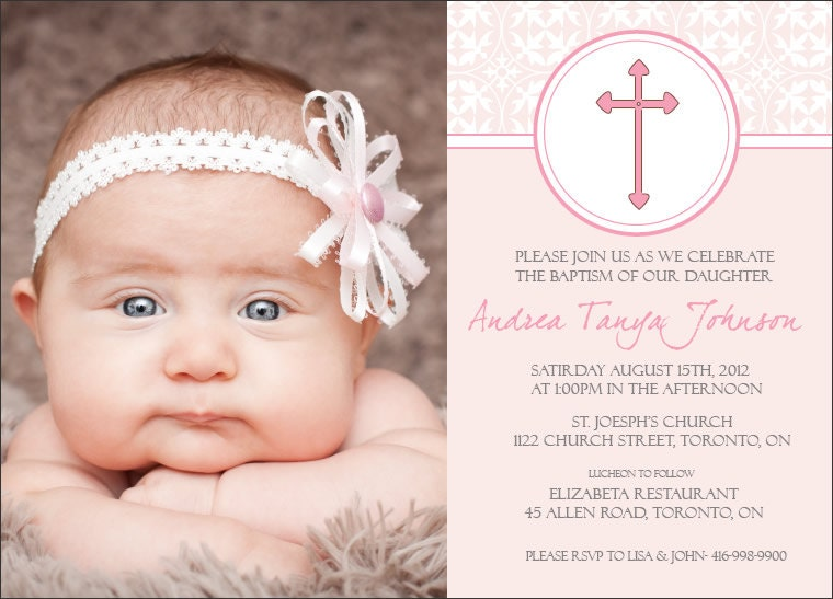 Baptism Invite GIRL Pink Pattern by TheVillagePress on Etsy