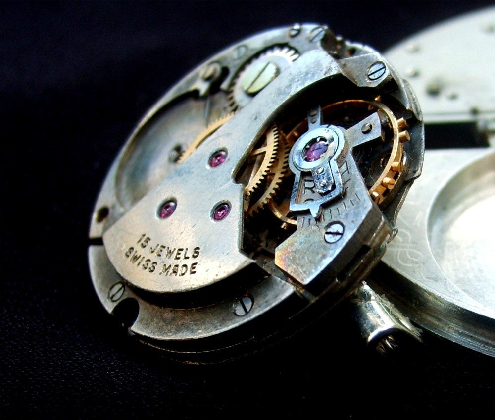 Steampunk Watch Movement Pin - Shades of Gray