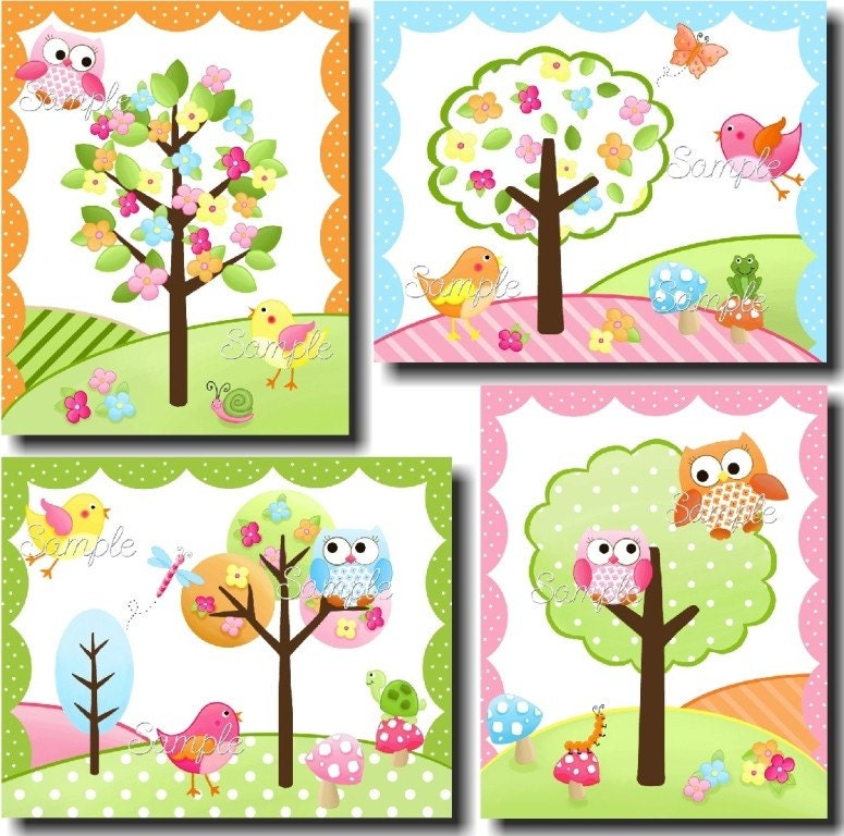 Set Of 4 Owls Love Birdies Girls Bedroom And Baby By