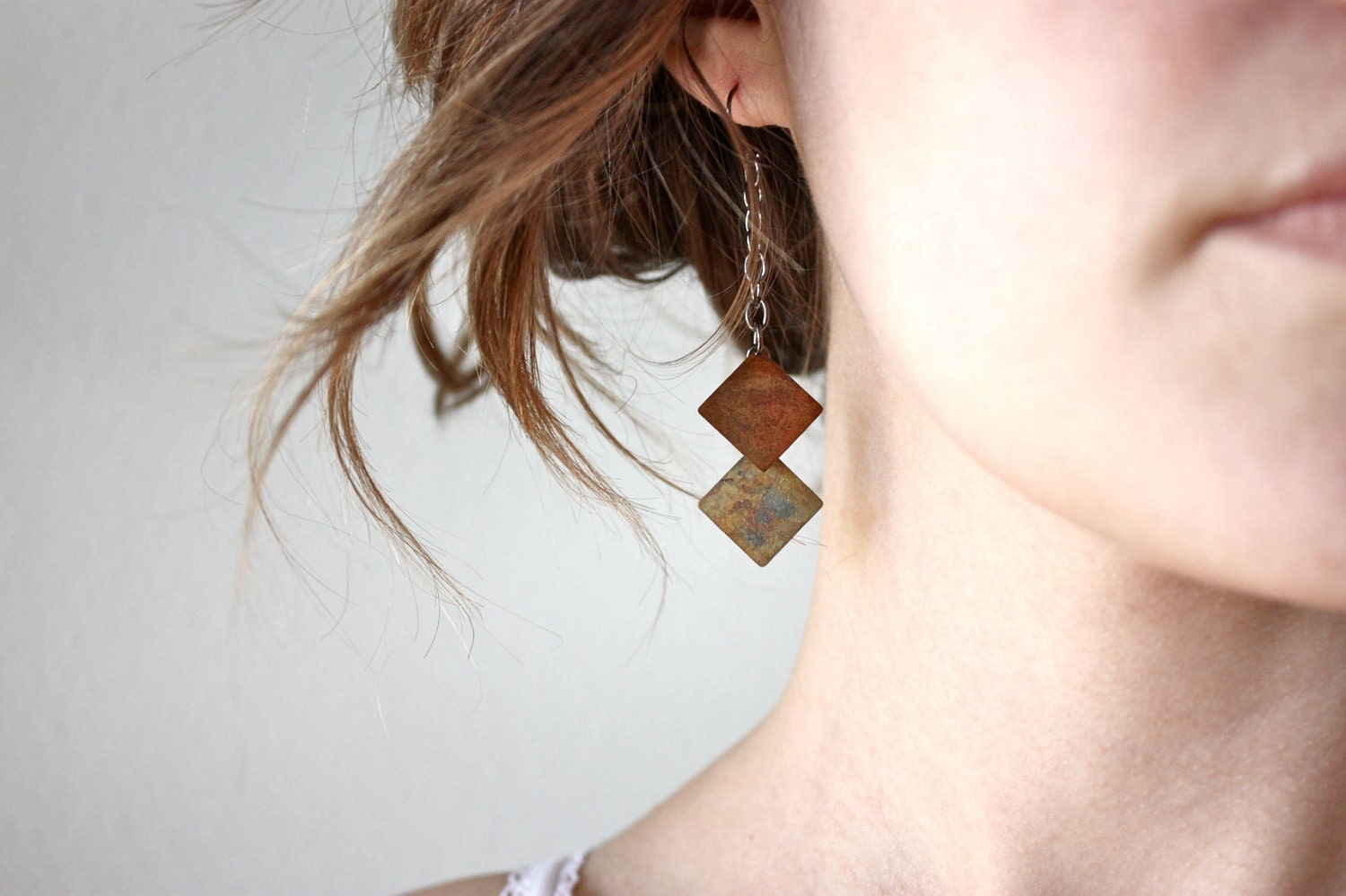 Two Square Earrings - tribal - geometric shapes - chevron - By Corrieberry Pie - corrieberrypie