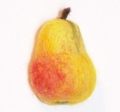 Needle Felted Pear Magnet