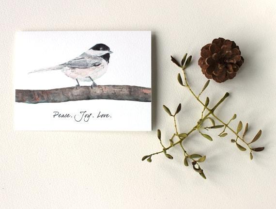 Chickadee Card - Peace, Joy, Love, Nature, Bird Painting, Watercolor, Holiday Art Card, Gray, Grey, Brown, Black, White - trowelandpaintbrush