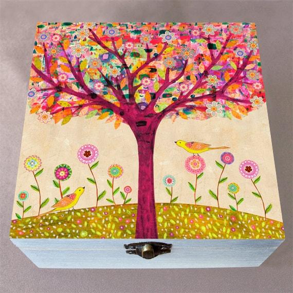 Wooden Jewelry Box  Sunny Tree Large Trinket Box
