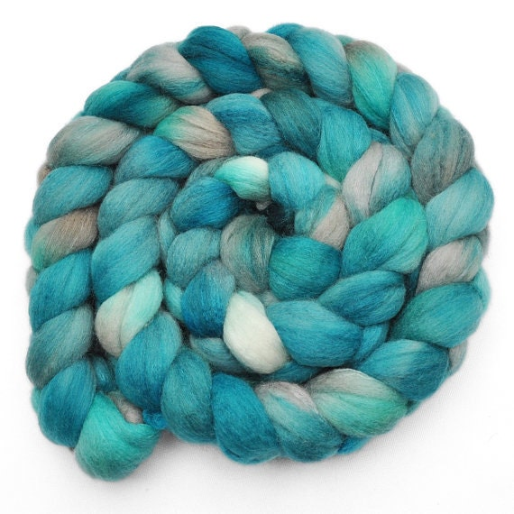 Rhinemaidens Scarf Turquoise Teal Silver Chunky Knit Art Yarn Luxe Silk Blend PREORDER - AudreyKnitted