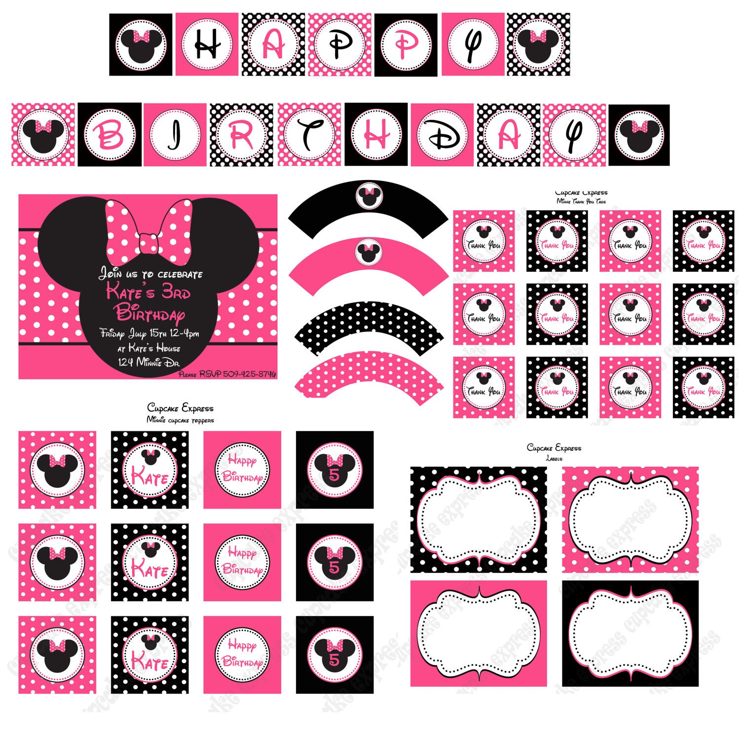 It is a photo of Impeccable Free Minnie Mouse Party Printables