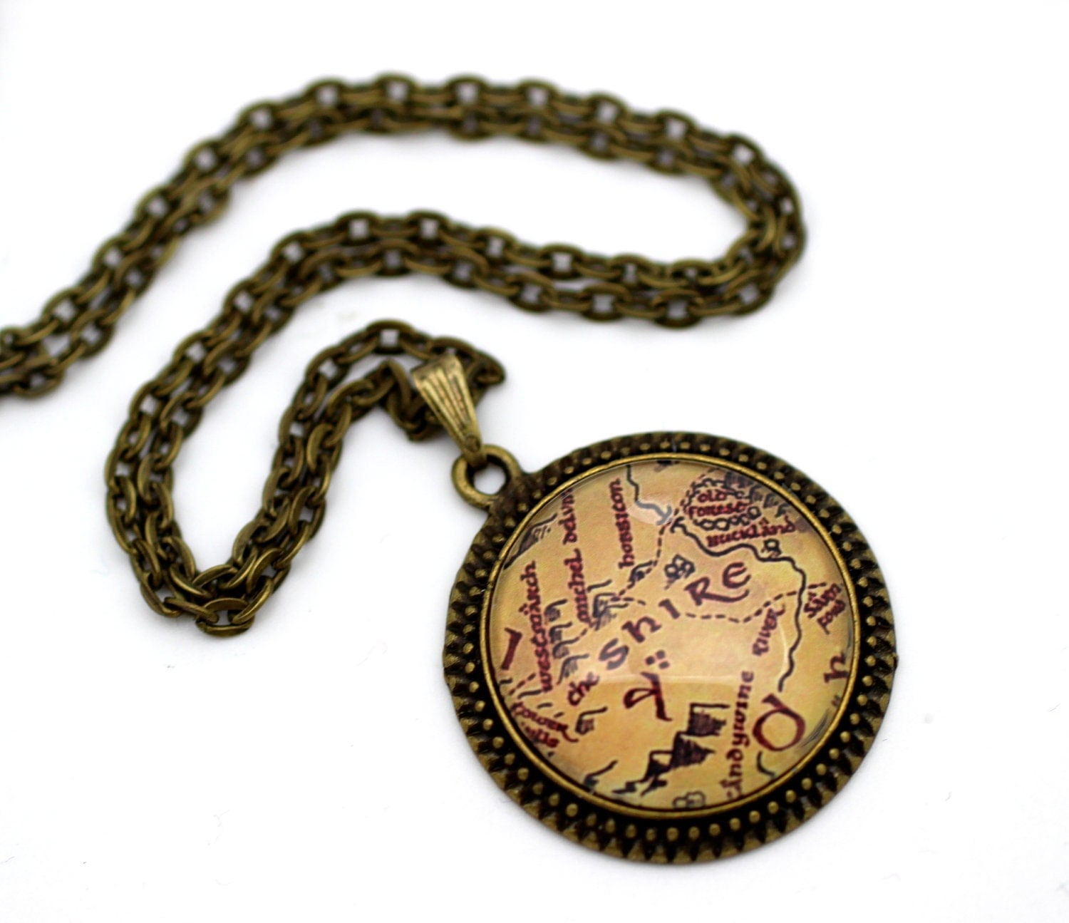 map jewelry lord of the rings the shire necklace by