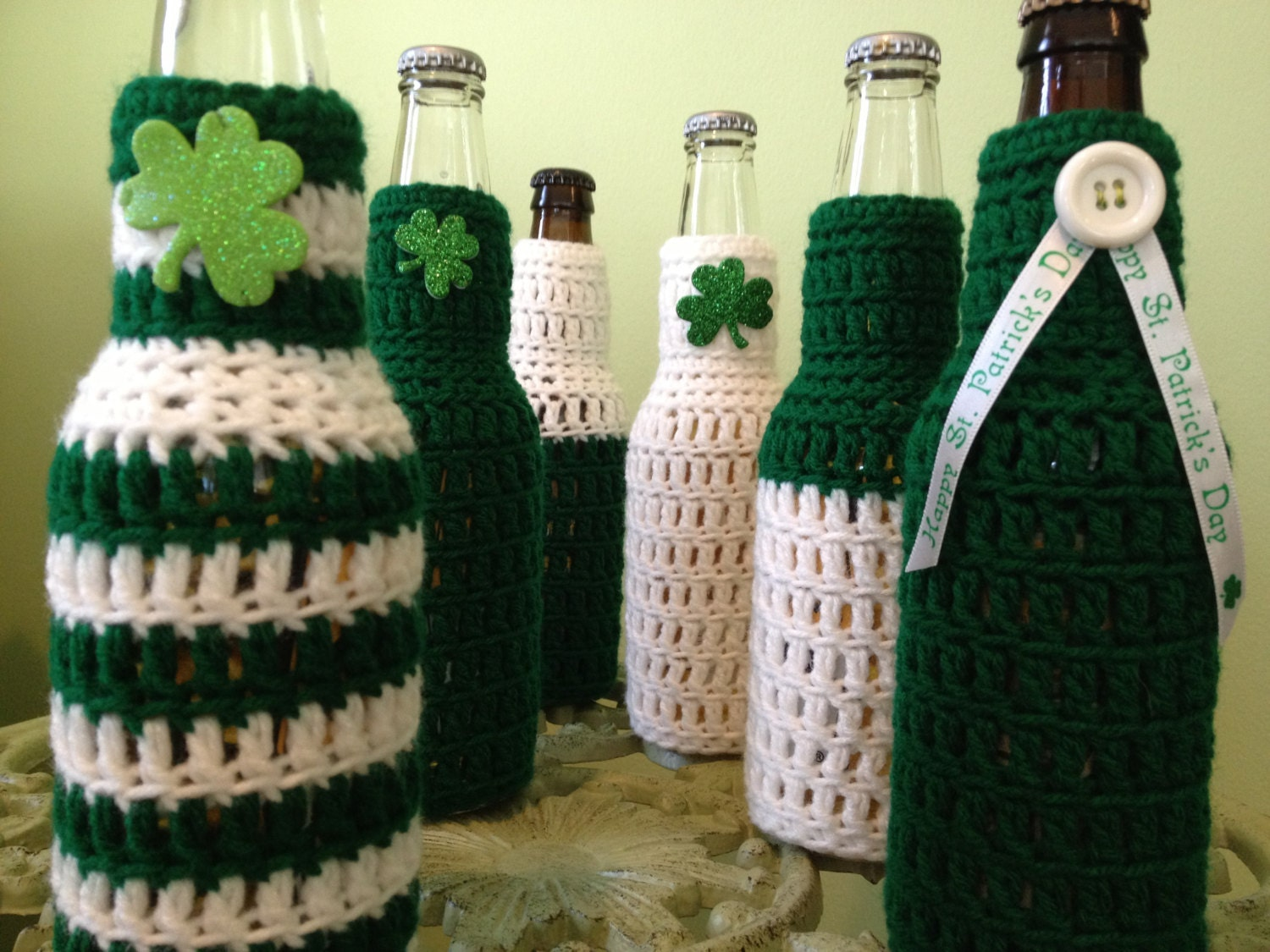 St. Patrick's Day Beer Koozie, Party Favors, Crocheted Beer or Soda Bottle Koozie, Ugly Sweater, Made to Order for Your Party - BeachDaisyJewelry
