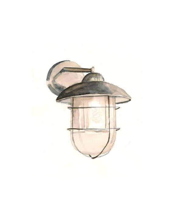 """Watercolor print: """"Starbucks wall lamp"""", by estudio arbitrario - estudioarbitrario"""