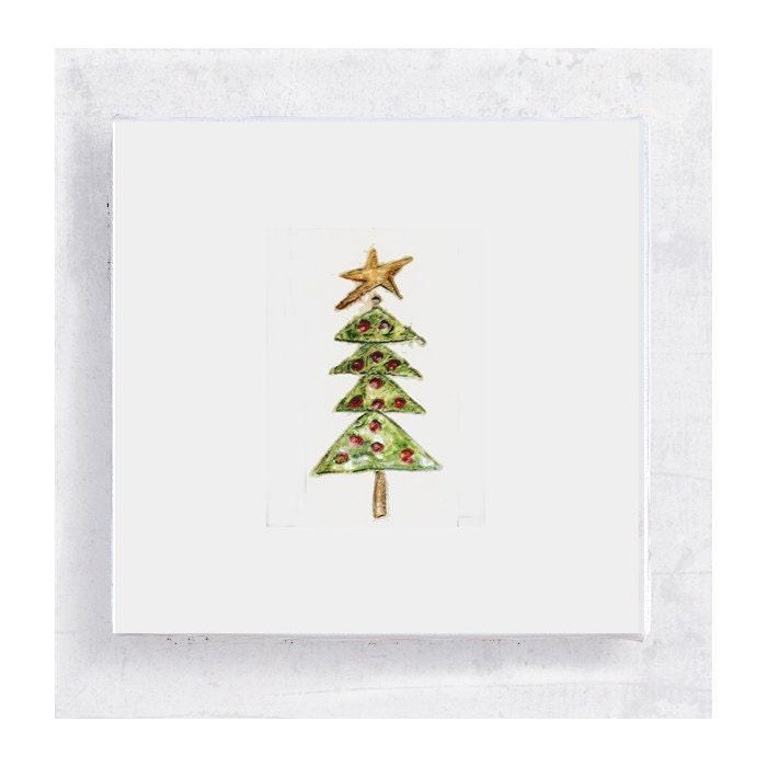 Christmas Art - Christmas Tree with Star Canvas Print on 5x5 Art Block - Mini Art - Wall Art - Home Decor - PeyLu