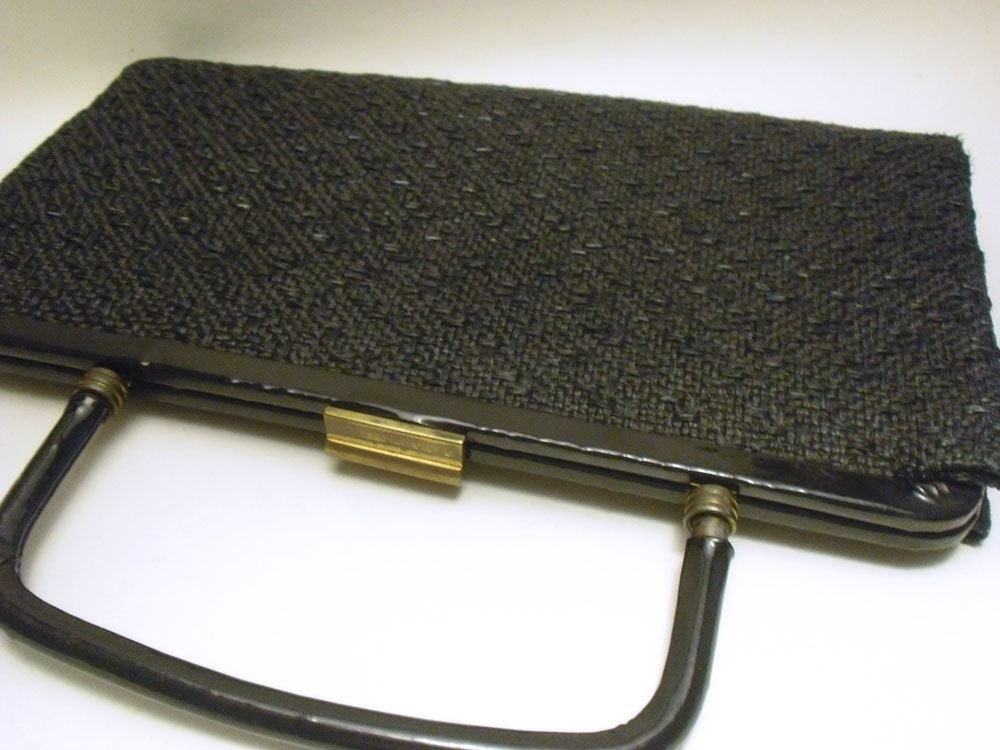 Vintage 50's - 60's black straw convertable clutch