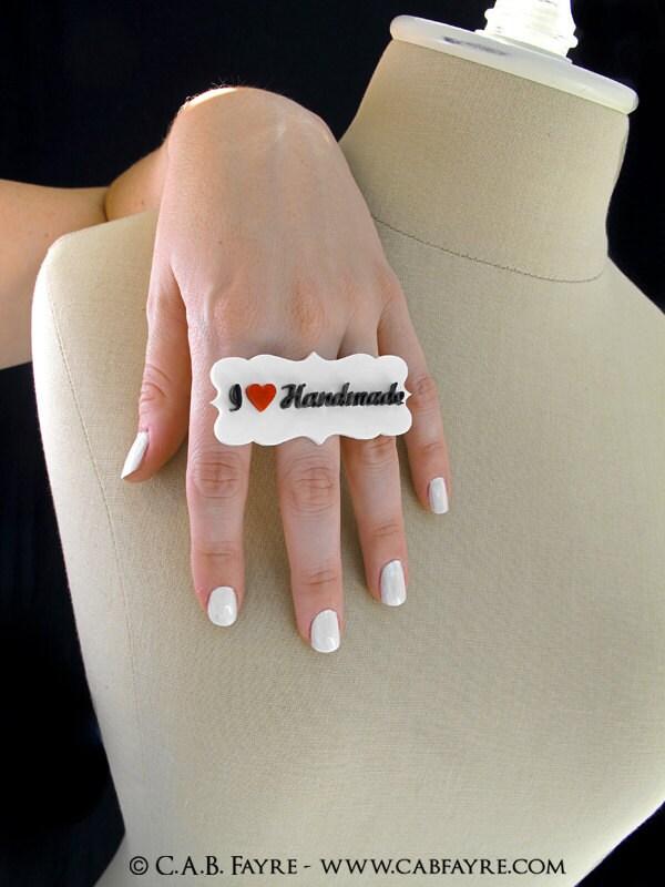 I Heart Handmade Ring - Laser Cut Acrylic (C.A.B. Fayre ORIGINAL DESIGN)