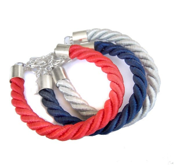 navy blue, coral red, grey  - 3 satin rope nautical bracelets  - set, friendship bracelets - IskraCreations