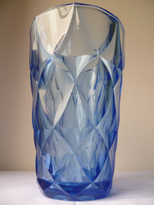 Large Art Deco 1920 1930 blue geometric flower vase