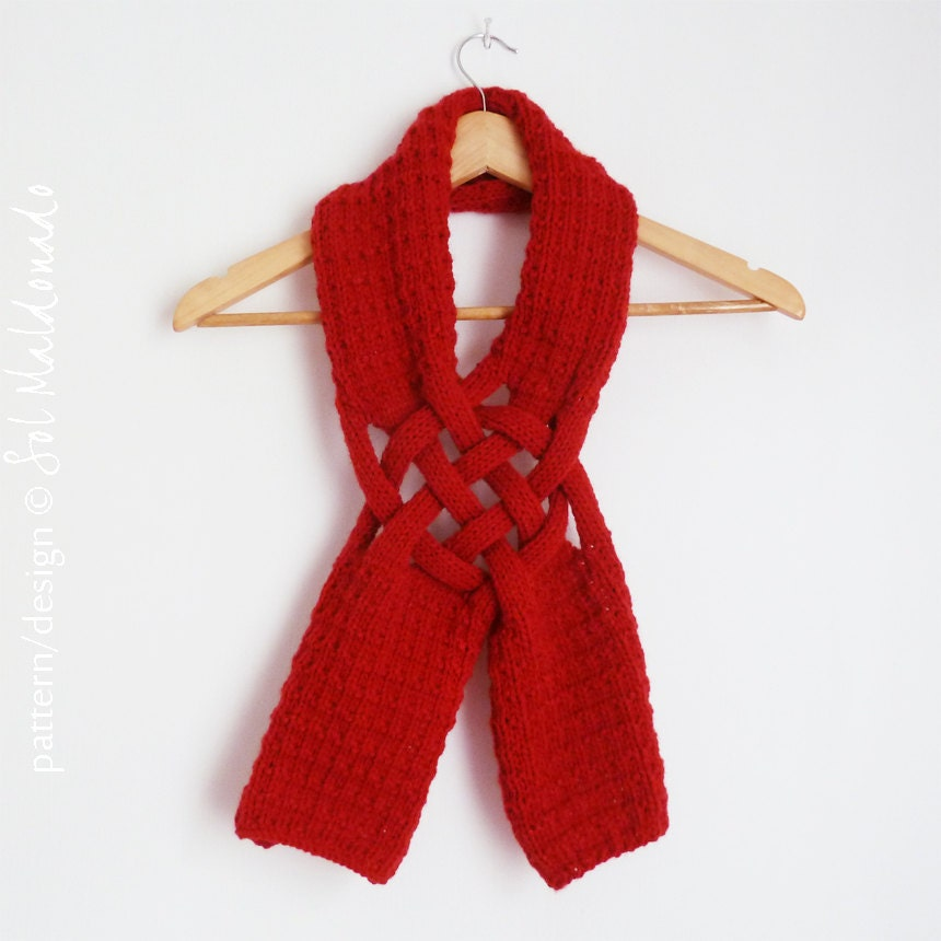 Christmas Scarf Pattern - Knit Weave Scarf  PDF ebook  - man, woman, adult knitting pattern - Gift for him, Gift for her - bySol