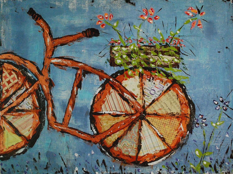 orange serendipity fine art print by mixed media artist julie king