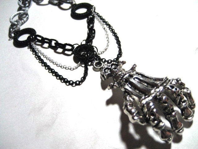 Fist of Hades - Skeletal Hand Necklace