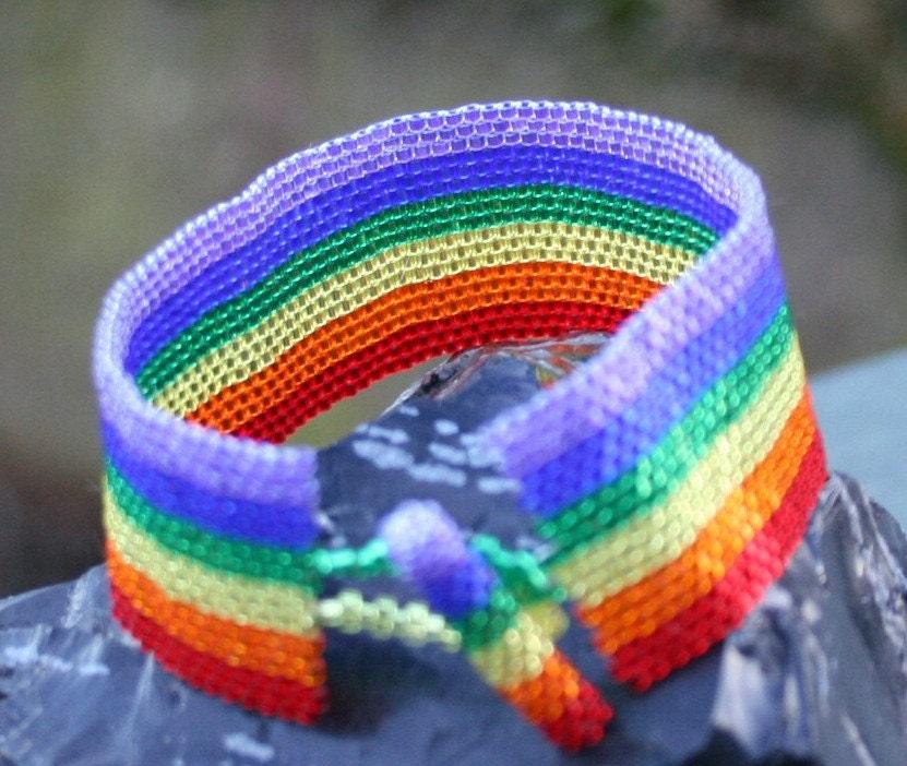She's Like A Rainbow Peyote Cuff Bracelet