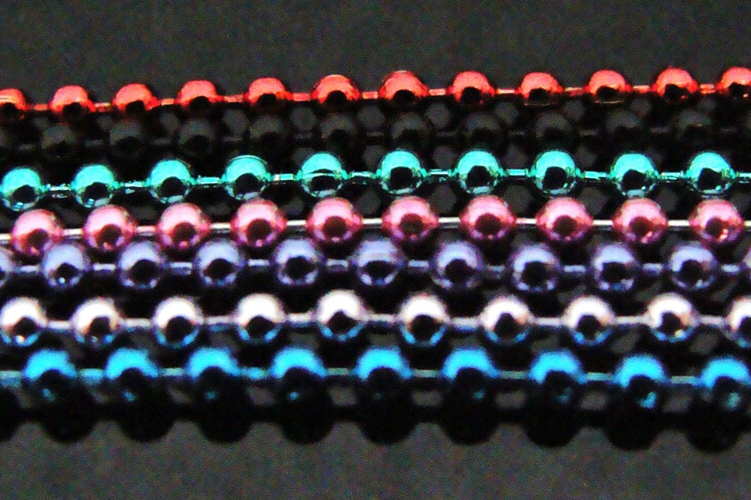 COLORFUL BALL CHAIN ----- 1.5MM BALL ------17 INCH --- PINK - BLUE - PURPLE - LILAC - BLACK  -RED  - GREEN