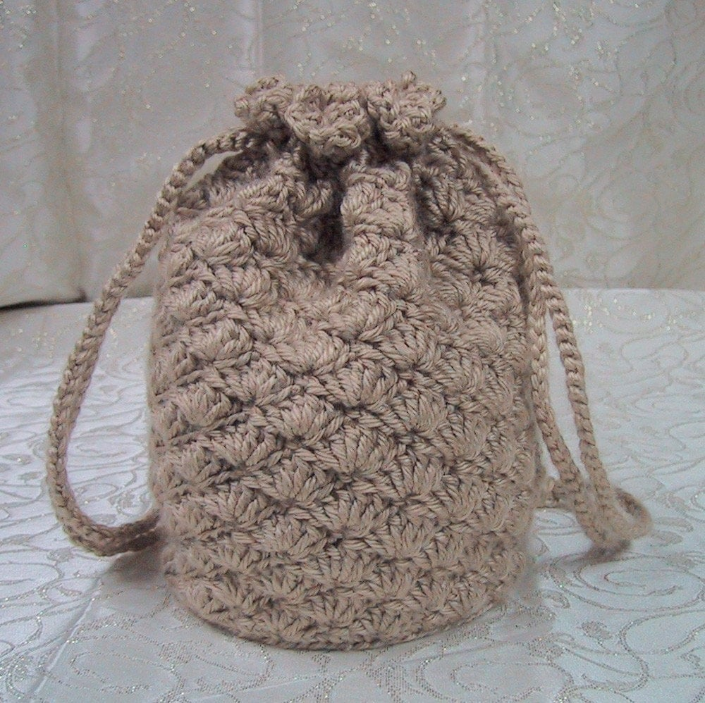 Crochet Drawstring Bag : Reticule - Drawstring Bag - Crocheted in Bone\/Tan Color Yarn ...