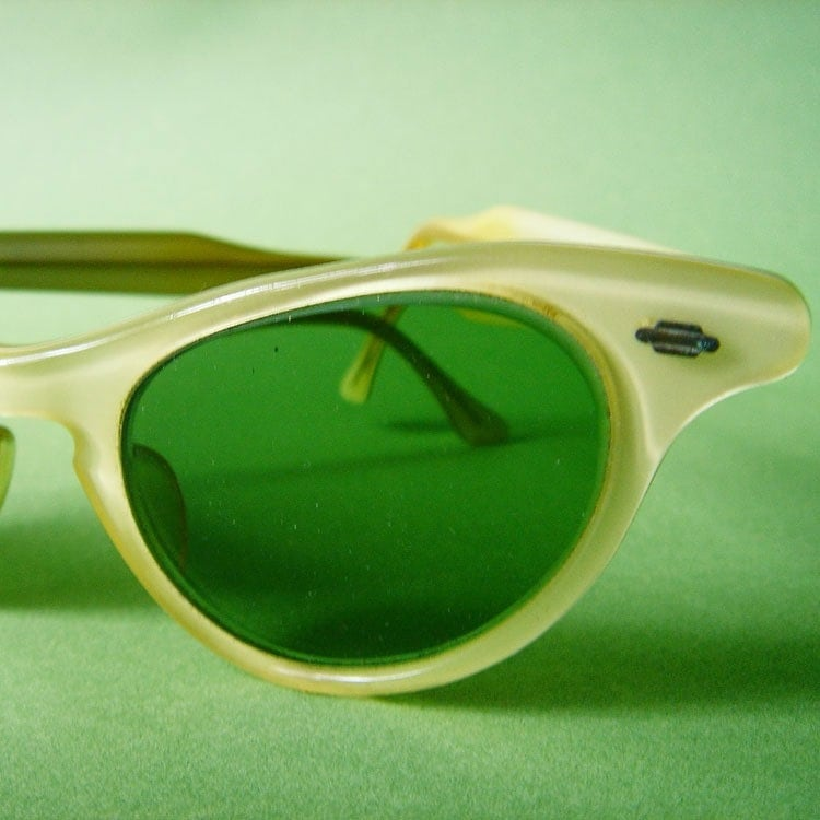 Lemon Chiffon - Vintage ArtCraft Cat's Eye Sunglasses or Eyeglasses Frames by thewoolgatherer on Etsy from etsy.com