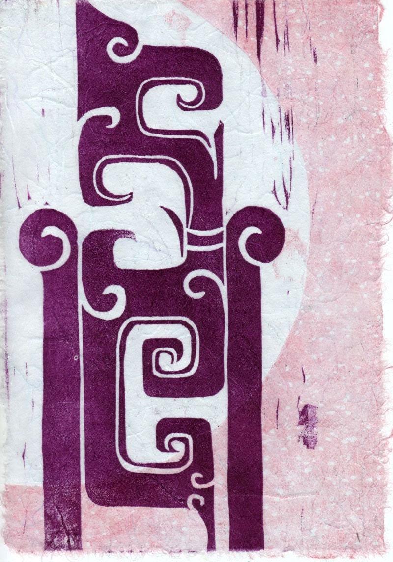 Violet Jade Moon Woodcut