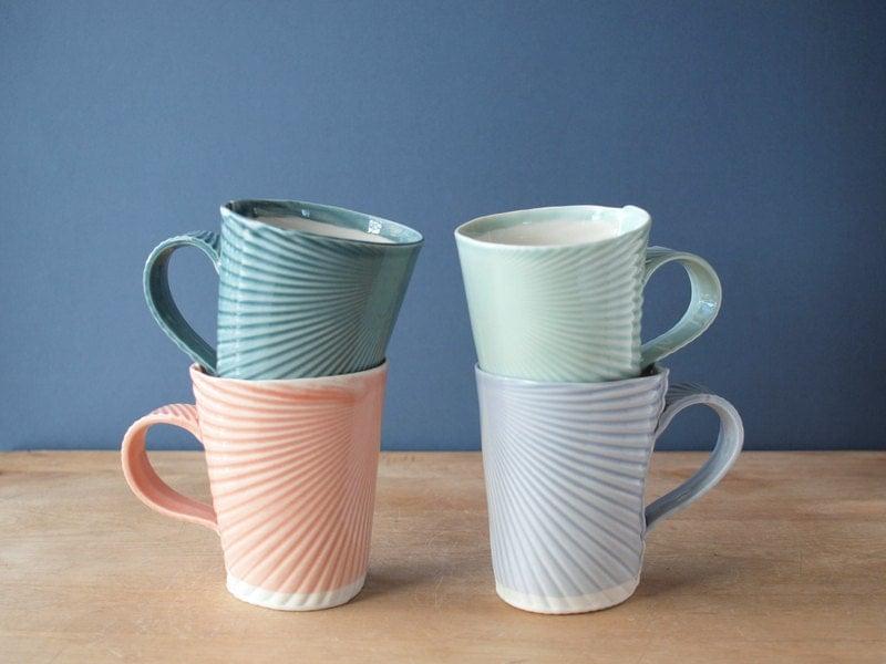 Porcelain hand-built mugs. pick your color