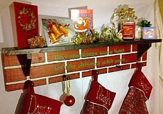 Christmas Mantel Stocking Holder with Quote or by ...