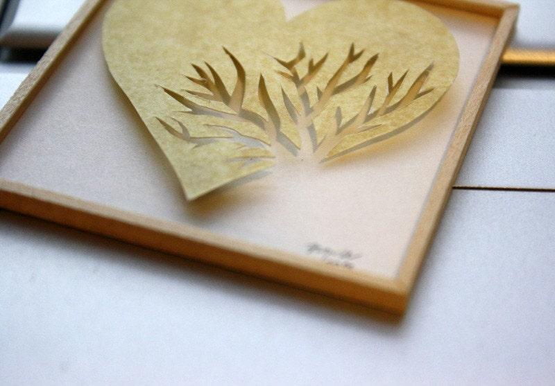"Miniature Shadowbox Paper Wall Art, ""Heart Cracked"" in Yellow made for 1:12 Scale Dollhouses"