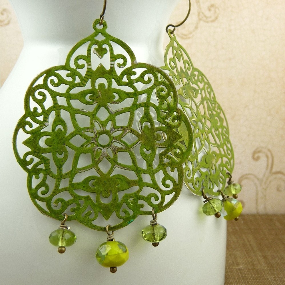 trellis - avocado green hand painted filigree and glass earrings