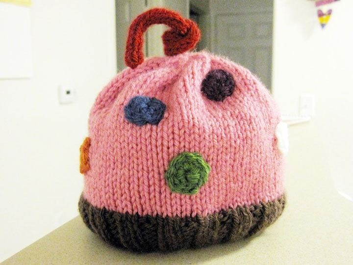 Cupcake  w/Sprinkles - Hand Knit Baby Hat