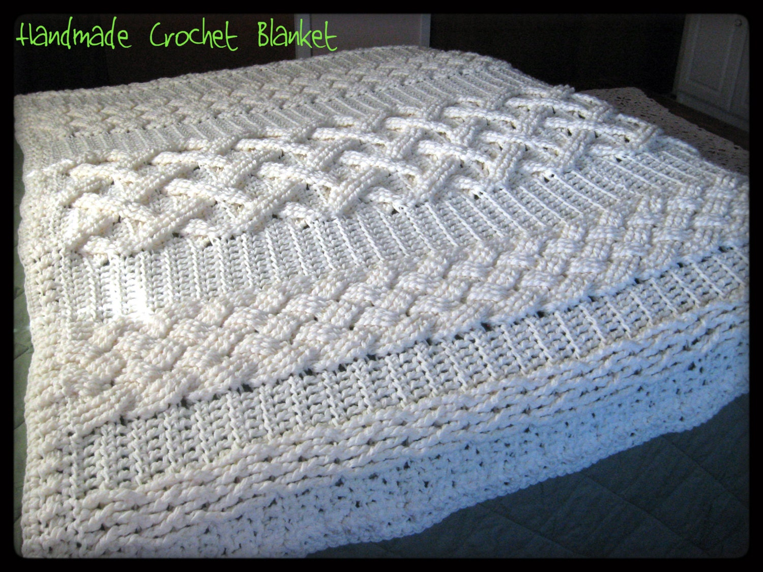 Crochet Cable Stitch Afghan Patterns : Items similar to HUGH SALE on Crochet Cable Afghan, Aran ...