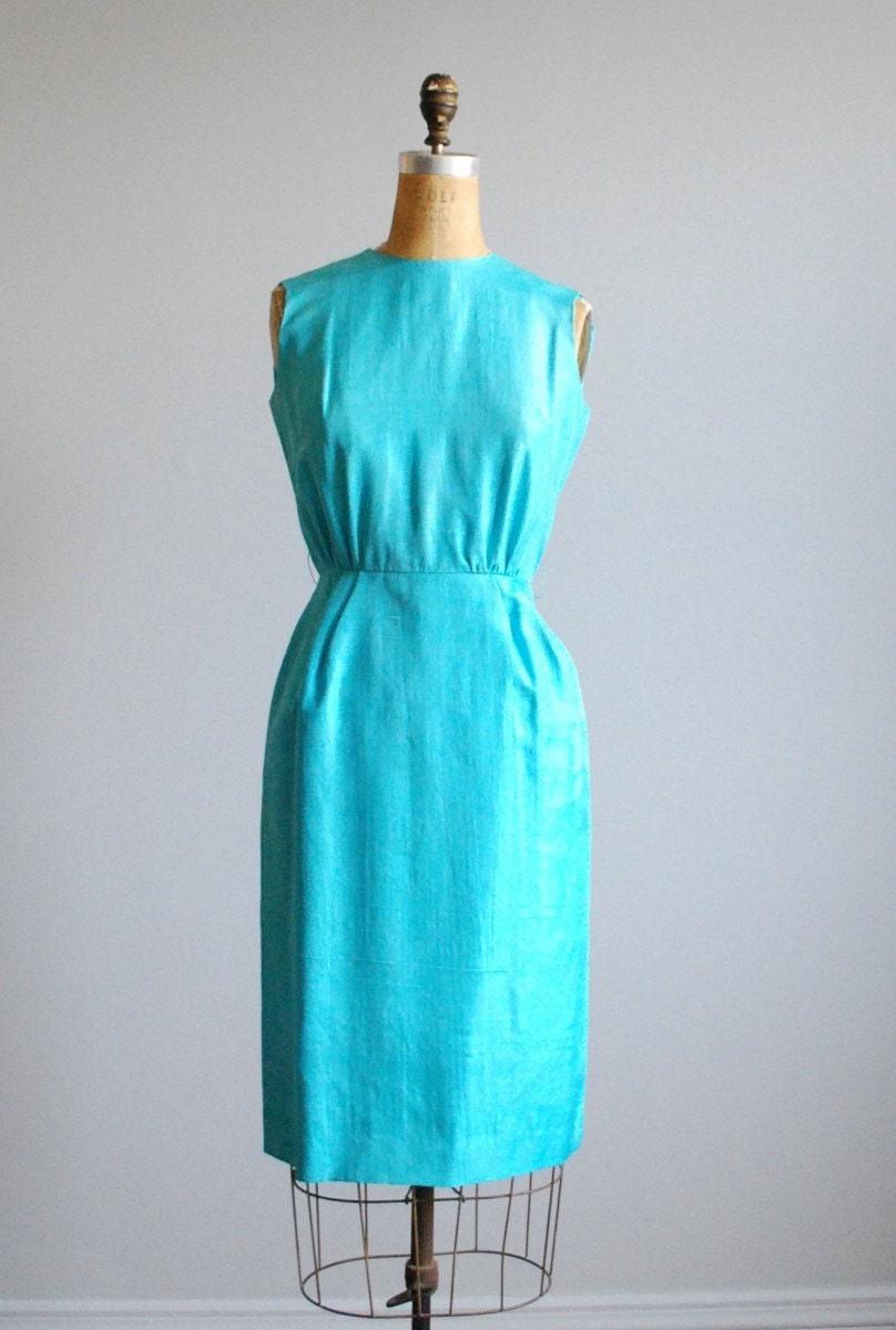 50's Aqua Blue Raw Silk Wiggle Sheath Dress