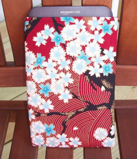 Kindle 3 Sleeve - Case - Holder - Only ONE in stock - Japan Blossoms - FREE SHIPPING