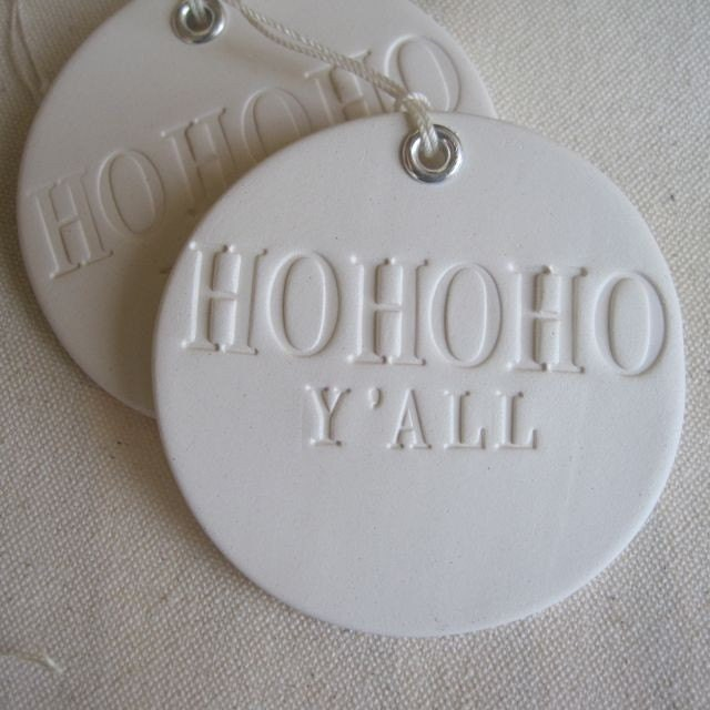 HO HO HO Y'ALL text tile ornament with grommet detail by Paloma's Nest