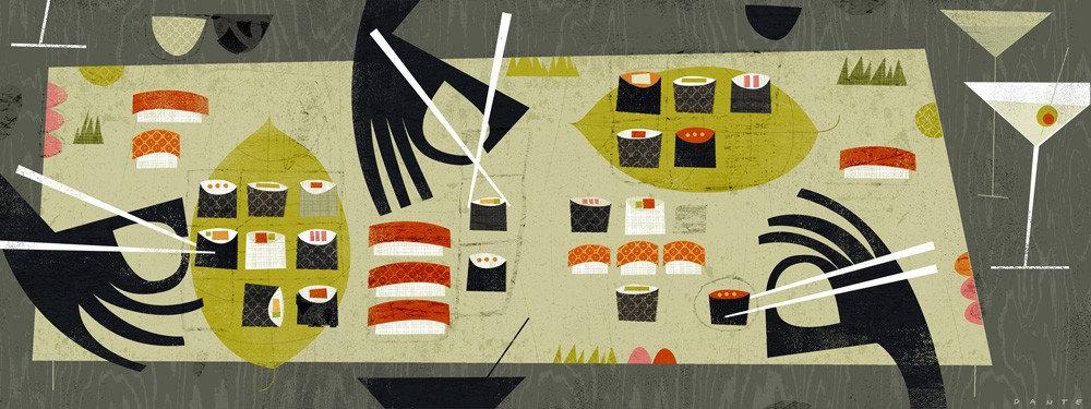 """Sushi 7.5""""x20"""""""
