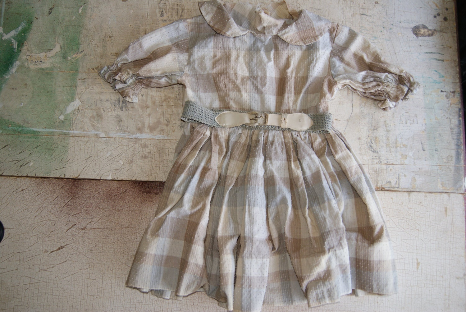 Vintage Handmade Childs Or Doll Dress With Belt Dotted Swiss 1950s