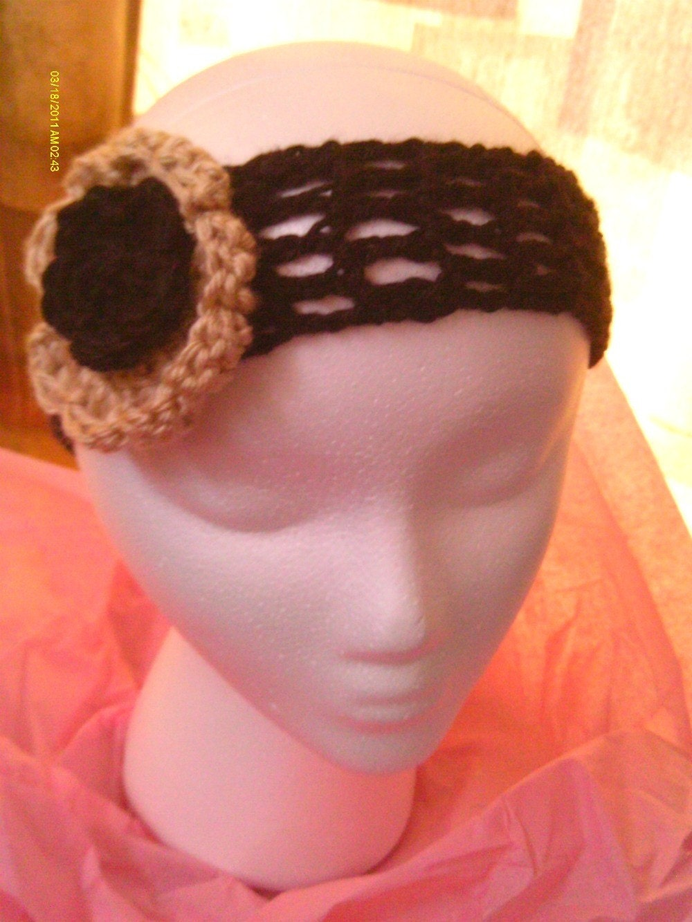 Buy ONE Get ONE Free SALE - Wide Hand Crochet Dreadband / Headband - Black & Tan