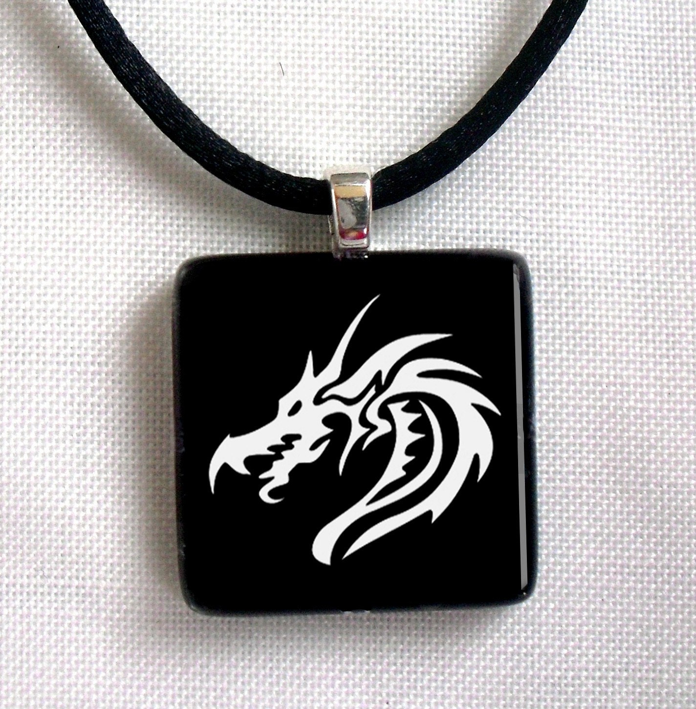 Chinese dragon, 1 inch Square Glass Tile Art Photo Pendant (with Necklace Gift)
