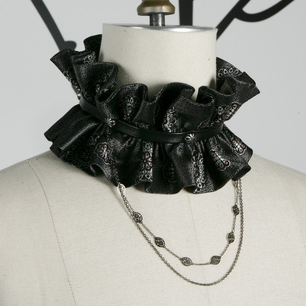 Haute Neck Ruff Choker with Hanging Chains