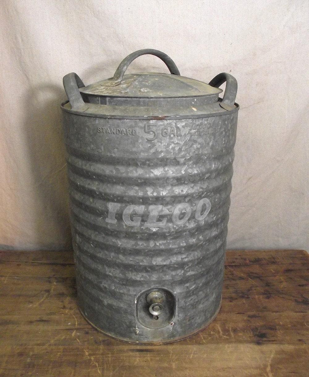 Vintage Large Igloo 5 Gal Drink Cooler Galvanized By