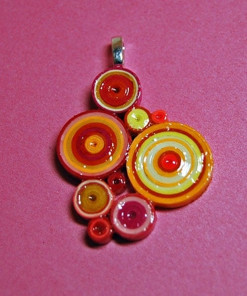Circles Necklace Pendant in Pinks, Yellows, Oranges