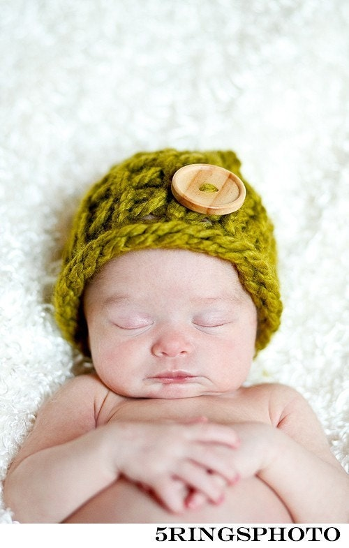 Early Black Friday Sale/Select Hats only 15.00/Farmers Market Knit Hat with cute wood Button-Newborn- Photo Prop