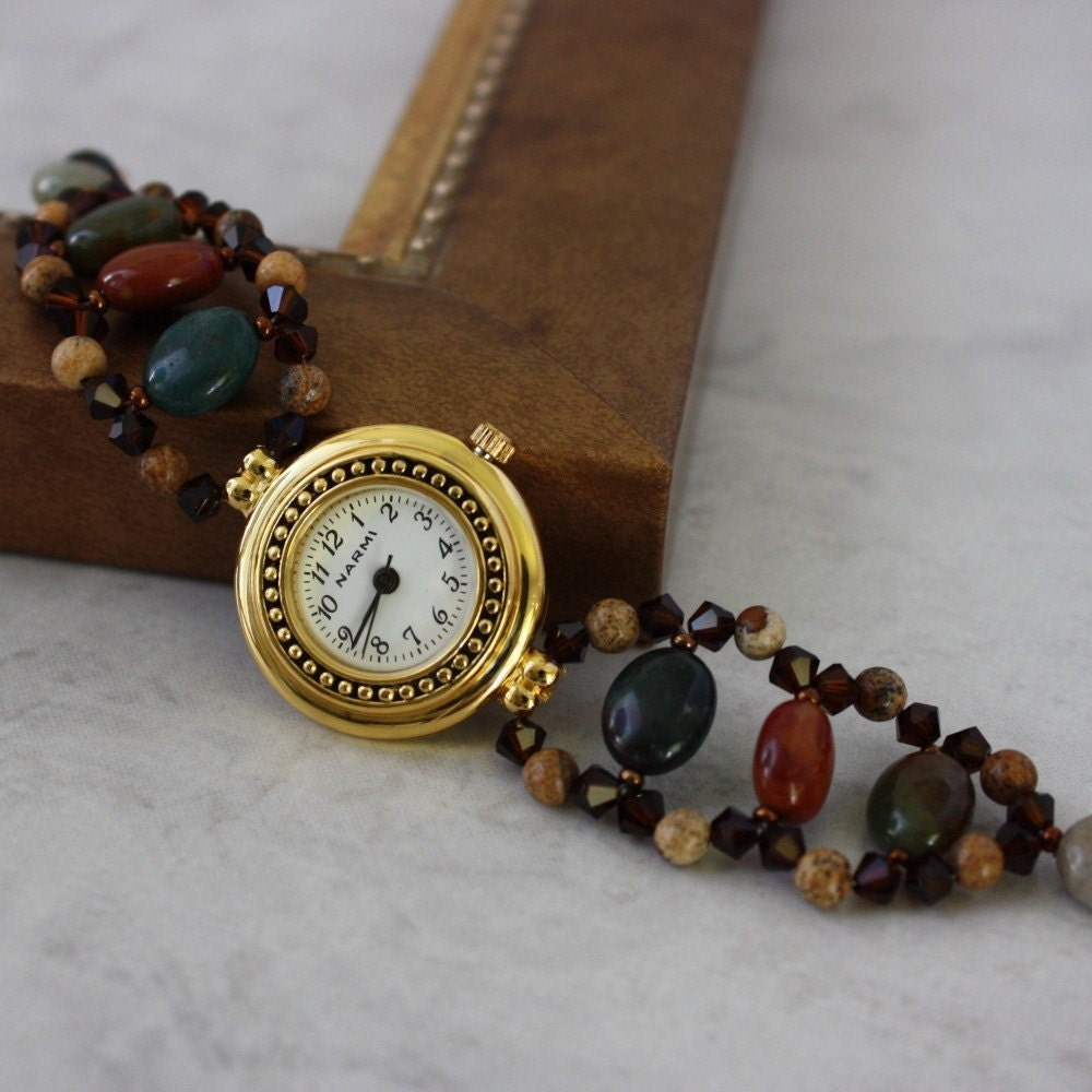 Indian Jasper and Picture Jasper with Mocha Crystal Watch