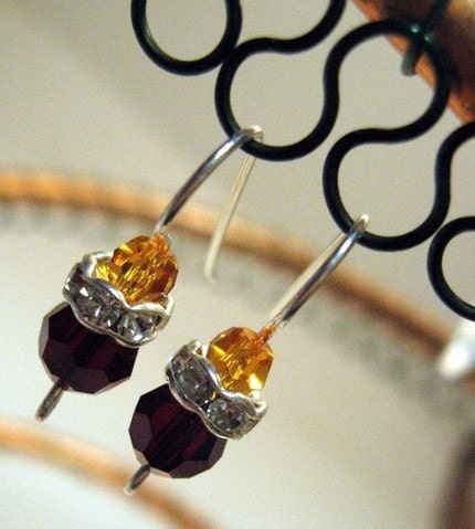 Amber Ruby Crystal Earrings