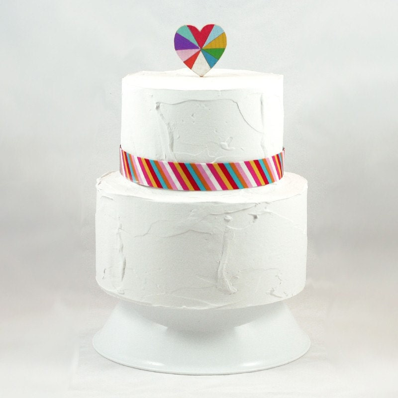 Love is Beautiful Wooden Rainbow Heart Cake Topper