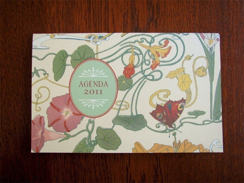 2011 Art Nouveau Agenda 12 month Calendar and Organizer Great Gift
